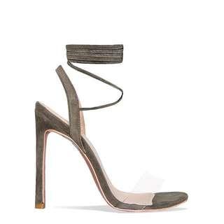 Khaki Clear Strap Heels 6
