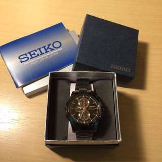 SEIKO SSC095 all black solar watch