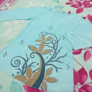 Hand-painted Baby Blue Batik Blouse