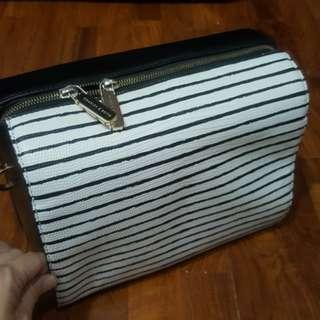 Charles and keith black white stripe bag
