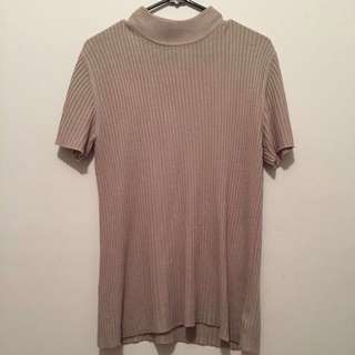 Beige Ribbed Short Sleeve Turtleneck