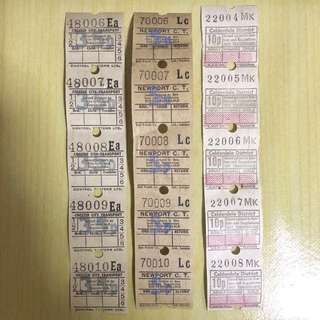 15 Vintage Bus Tickets Ephemera