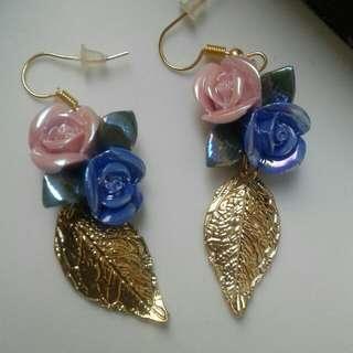 Rose & Leaf earrings -anting mawar handmade