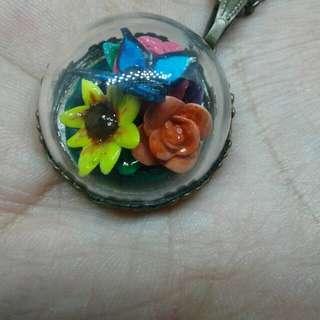 Flower Garden handmade necklace-kalung clay globe