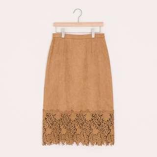 🚚 Pazzo 全新未拆吊牌 麂皮蕾絲氣質長裙 包裙 s號