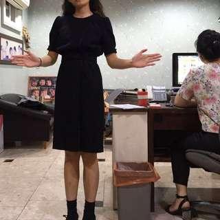 日製 古著洋裝 黑色 法式連身洋裝