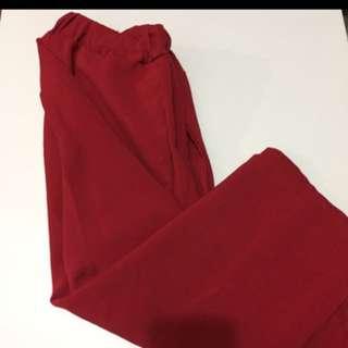 💁紅色闊褲 - Free Size