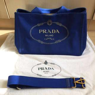 Authentic Prada Canapa Cobalto Shopping Bag