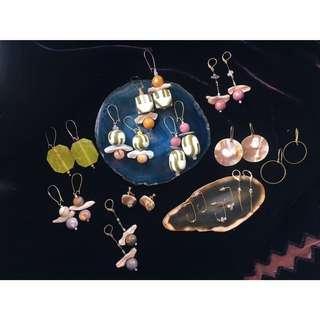 古董珠珠 黃銅 天然石 貝殼 耳環(手作)