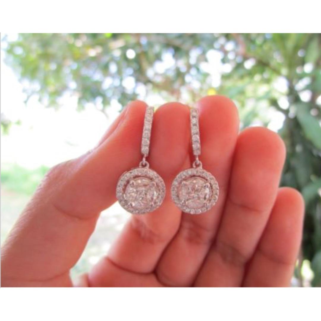 5.10 Carat Face Illusion Diamond White Gold Dangling Earrings 14k ...