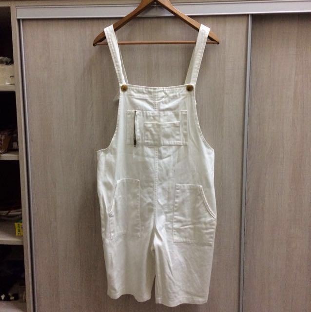 全白吊帶褲、吊帶短褲