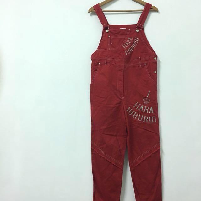紅色原宿吊帶長褲