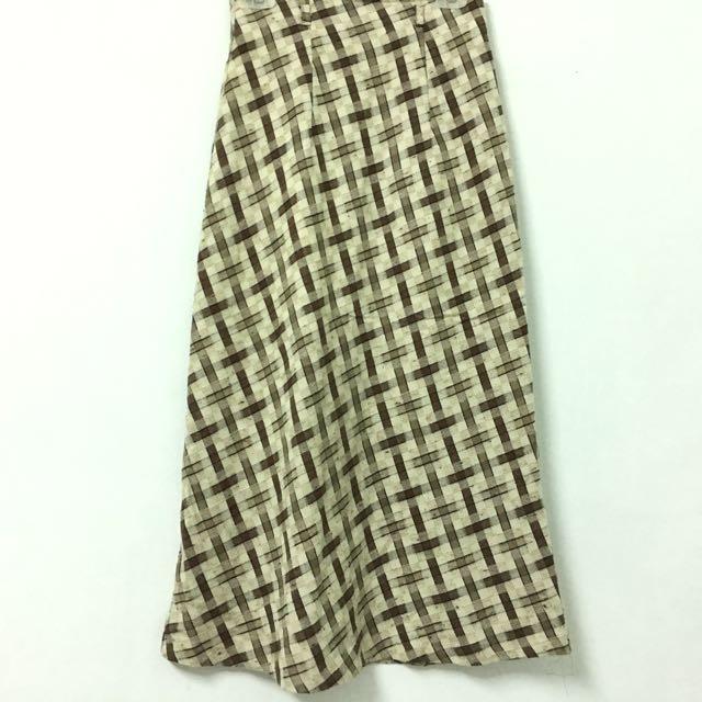 復古格紋長裙