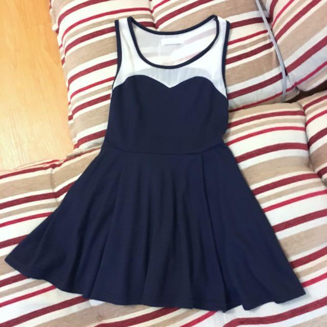正韓深藍顯瘦洋裝#有超取最好買