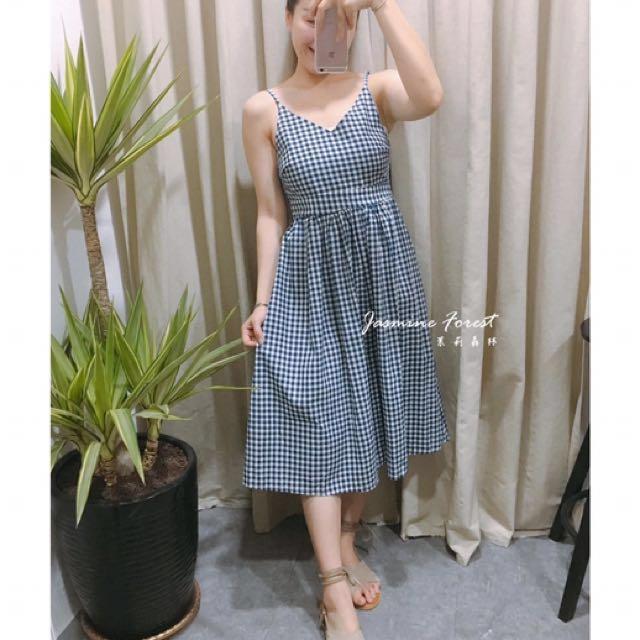 藍白小格子小露背洋裝
