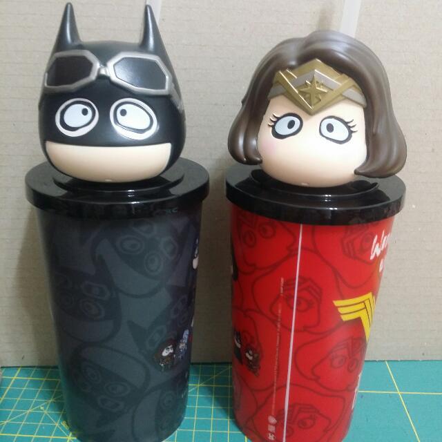 全新未使用正義聯盟影城蝙蝠俠神力女超人造型杯