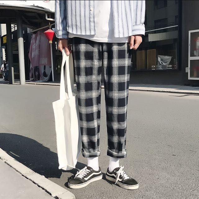秋冬情侶款直筒格紋長褲