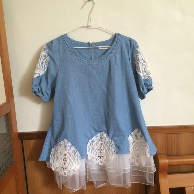 牛仔藍氣質蕾絲上衣  #我的女裝可超取