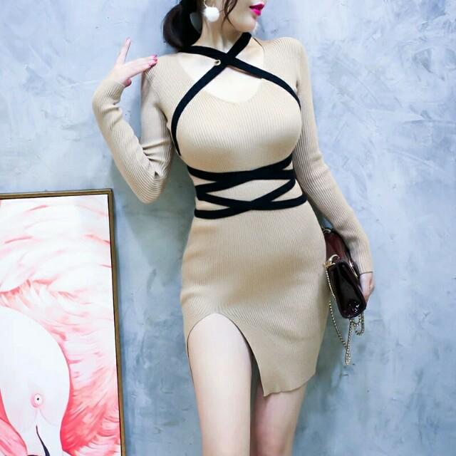 針織綁帶開叉彈性洋裝 三色