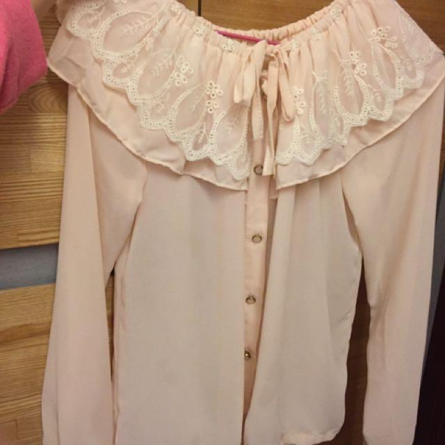 粉色 花花領襯衫