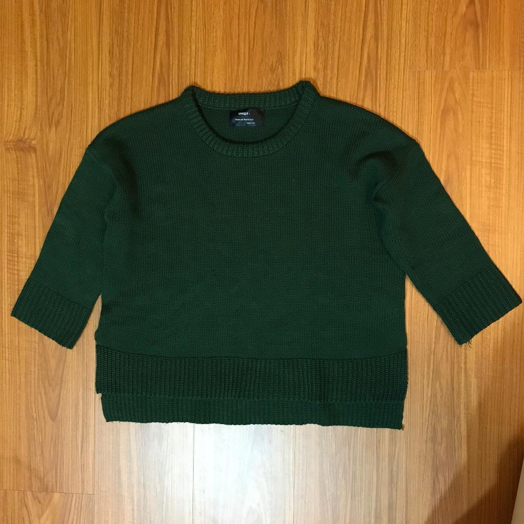 毛衣 短版 深綠色 女生