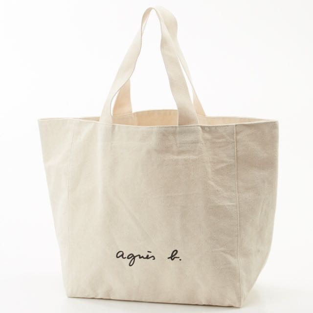 全新真品 日本🇯🇵限定 Agnes b.厚帆布包 托特包-現貨米白