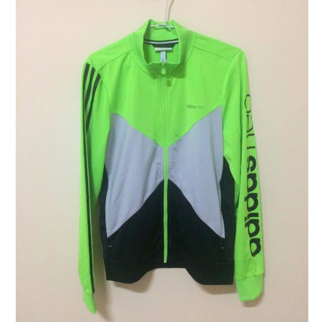 Adidas neo 男外套 螢光綠/黑 尺寸L-日本代購/日本帶回/運動外套/立領外套/風衣