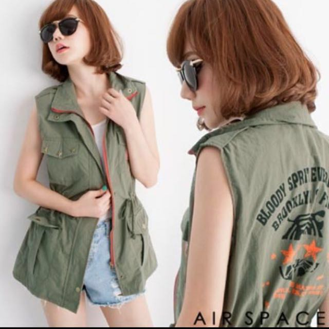 AIR SPACE個性軍綠色背心外套#有超取最好買