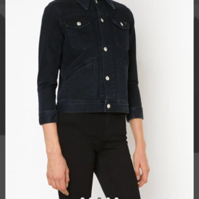 ALEXA CHUNG FOR AG 'hitt' black denim jacket size small