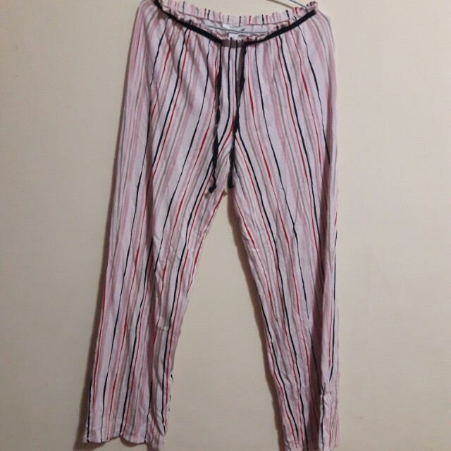 ALFANI粉紅色條紋棉質長褲