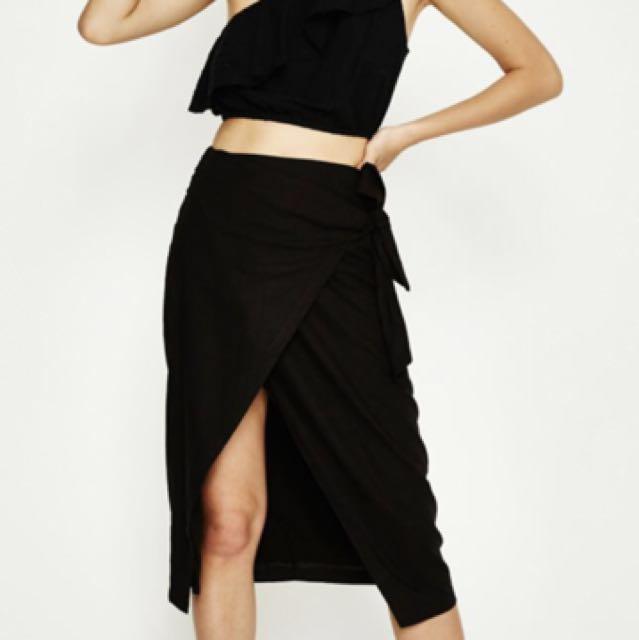 alice in the eve black linen wrap skirt XS