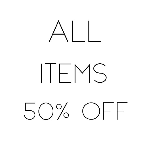 All items 50% off