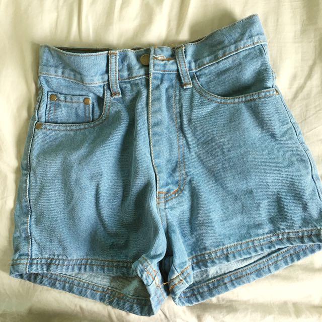 37e776fbcd american apparel inspired high waist light denim shorts, Women's ...