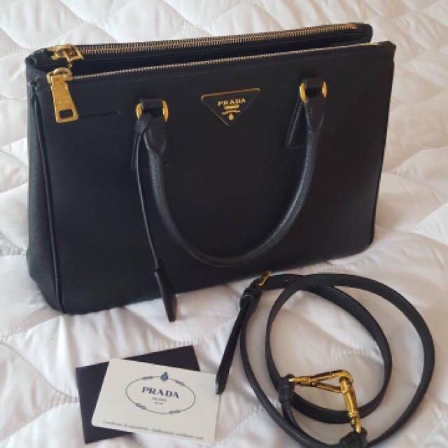 Authentic prada saffiano nero double zipper size 30 bn1801 2013