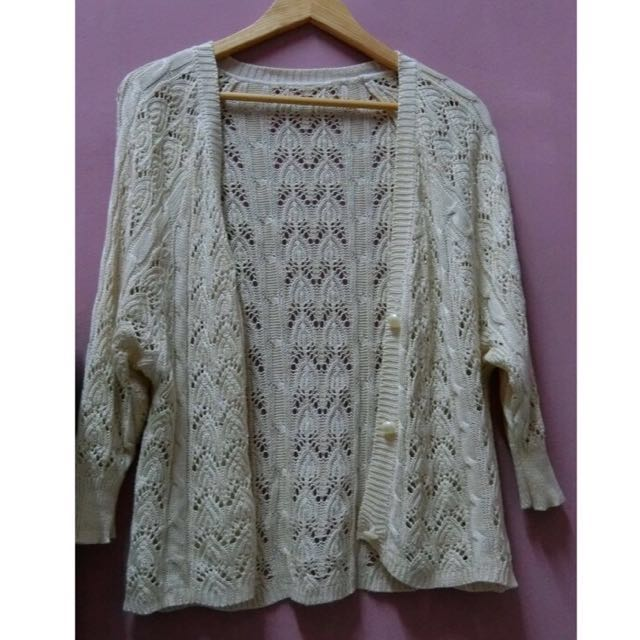 Beige Knit Outer Wear with Buttons