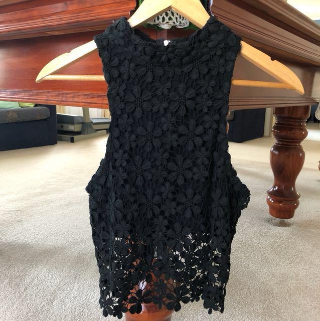 Black Crochet Crop Top - Size 10