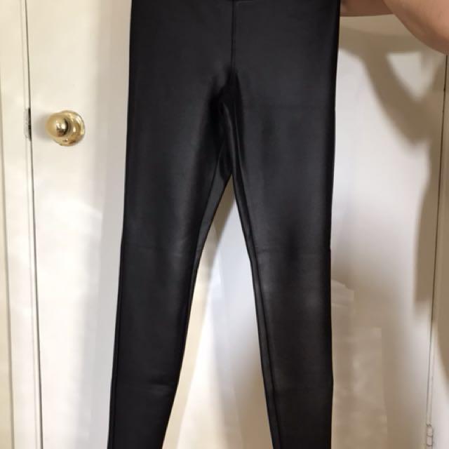Black soft leather leggings