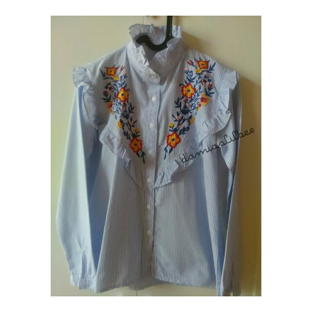 Blouse Stripe Flowery