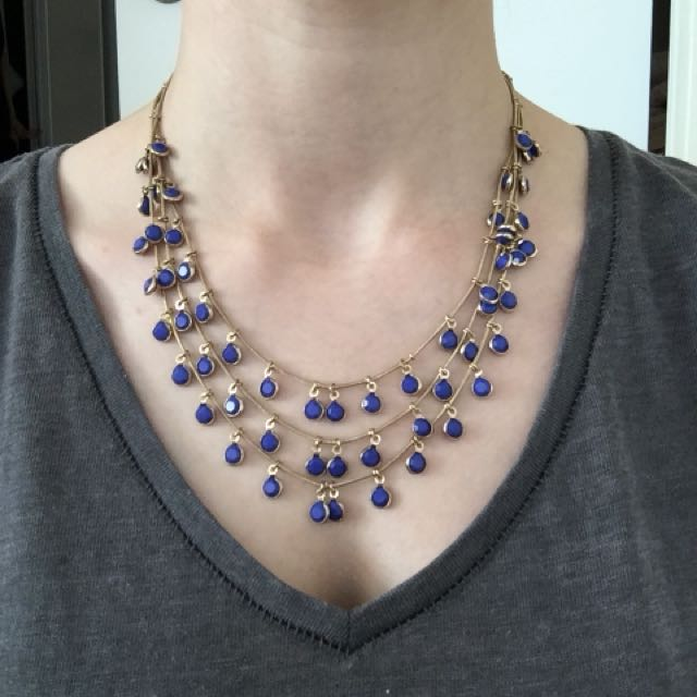 Blue Beaded Tier Necklace