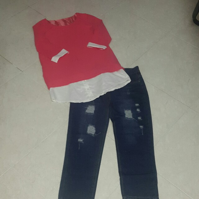BN Bf ripped ankle jeans +free BN pinkishpeach long top