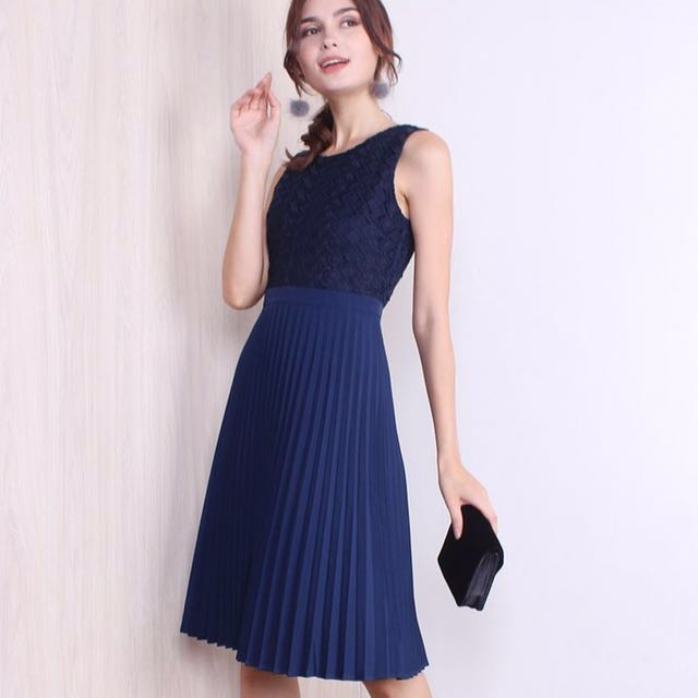 661f43978a BNWT* NEONMELLO ARABELLA CROCHET EYELET PLEATED MIDI DRESS IN NAVY ...
