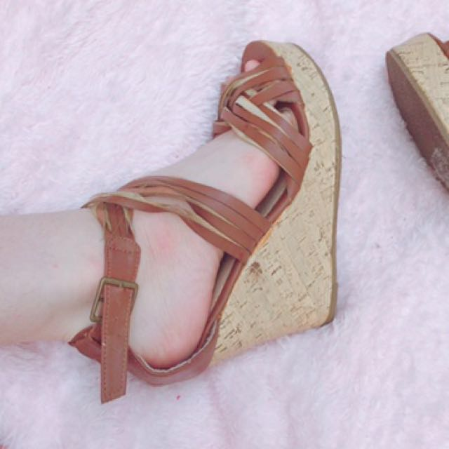 Brown Strappy Wedges