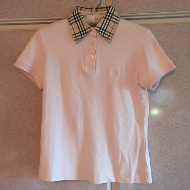 Burbeery黑標粉色 polo衫