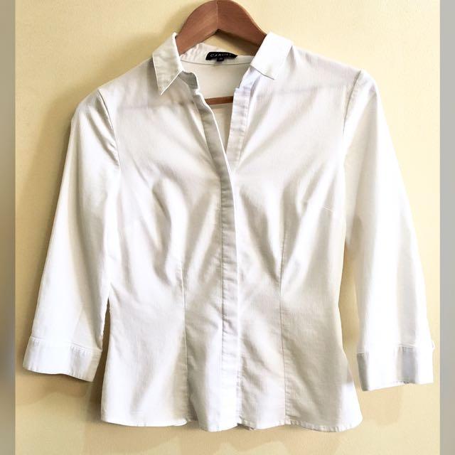 Caroll (France) Basic Textured Stretch Cotton Blouse (Fr36/S)