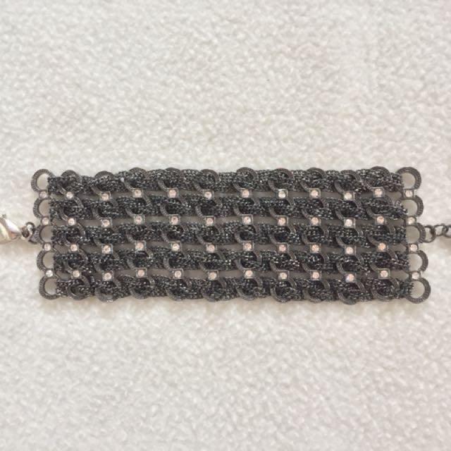 Chain and Jewel Gunmetal Bracelet