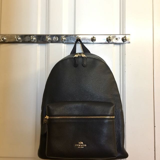 9020c438d Coach Charlie Backpack Large in Black Pebbled Leather, Luxury, Bags &  Wallets on Carousell