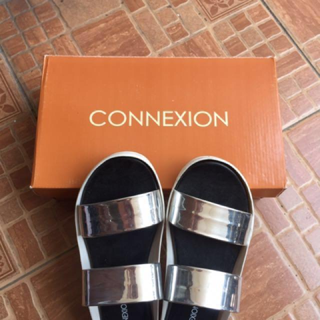 CONNEXION Silver Perak Slop Sendal Sandal
