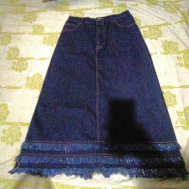 Denim Long Skirt with Fringe detail and Slit at the back