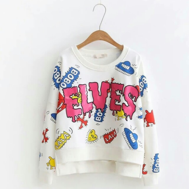Doodle Sweater Elves White & Pink