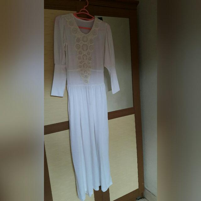 Dress Panjang Gamis Muslim Putih